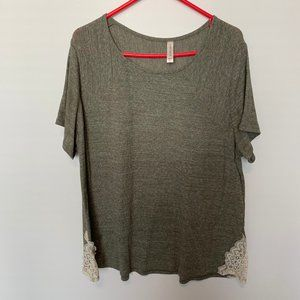 CACIQUE POLYESTER BLEND SCOOP NECK KNIT TOP